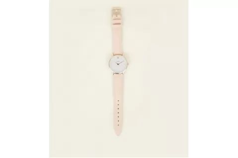 Cluse Pink Leather Strap Minuit Watch New Look